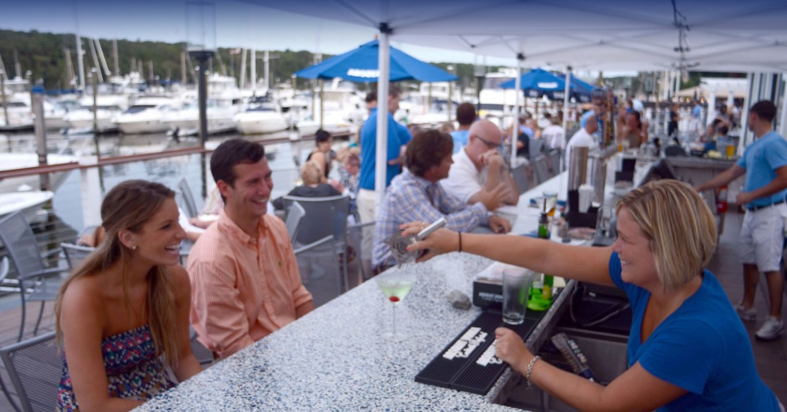 The Outdoor Bar At BLU On The Water In East Greenwich Rhode Island